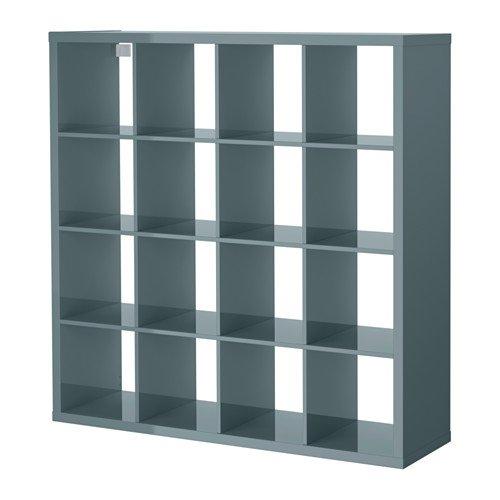 Gloss Wall Unit - Ikea Shelf unit, high gloss gray-turquoise 228.81414.386