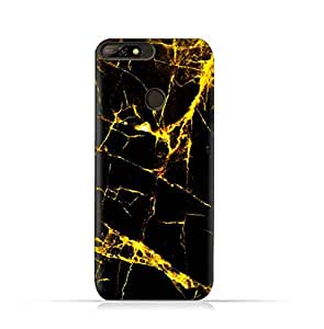 AMC Design Huawei Y7 Prime 2018 TPU Silicone Protective case with Dark and Gold Mesh Marble Pattern