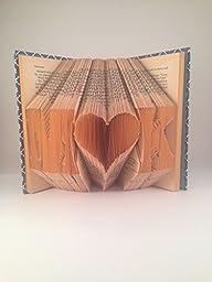 Custom Initials and Heart Folded Book Art - Block Font