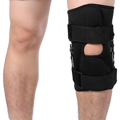 Ruiqas Knee Support Brace, Twin Hinged Knee Support Brace Breathable Open Cap Patella Brace Protection for Arthritis Injury Sports (Size : L)