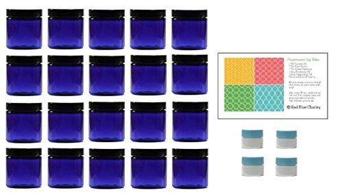 Cobalt Blue 8 Ounce PET Plastic Jars with Black Lids, and 4 Mini Jars, 20 Pack