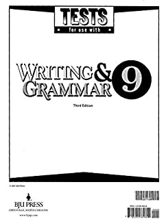 Writing and grammar 9 answer key tests for use with writing and grammar 9 testpack 3rd edition fandeluxe