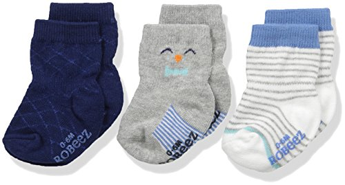 Robeez Baby Boys' 3pk Crew Socks, Cotton and Spandex Blend with Non Skid Application, Blue Print, 0-6 Months