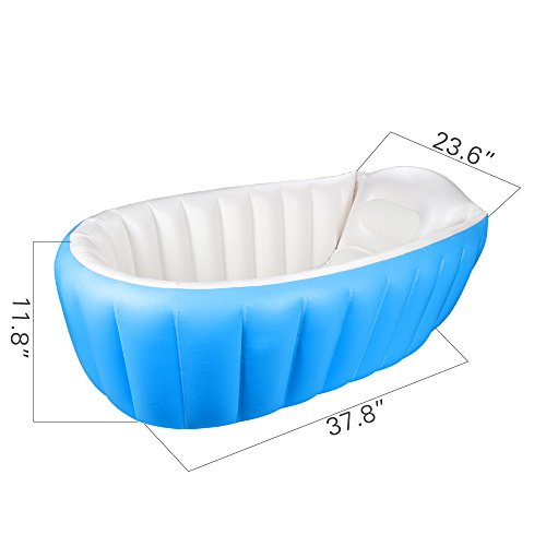 Inflatable Baby Bathtub,Topist Portable Mini Air Swimming Pool Kid Infant Toddler Thick Foldable Shower Basin with Soft Cushion Central Seat (Blue) by Intime (Image #4)