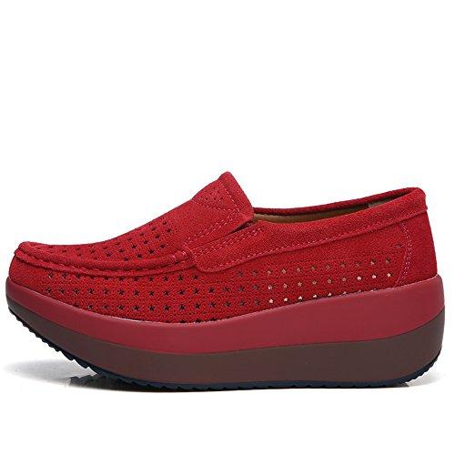 Enllerviid Mocasines Con Plataforma Mujer Mocasines De Ante Comfort Slip On Zapatillas De Deporte De Moda 3213 Rojo