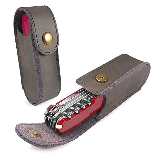 (TUFF LUV Genuine Western Leather Case Pouch (2-4 Layer) for Victorinox Swiss Army Knife - Brown)