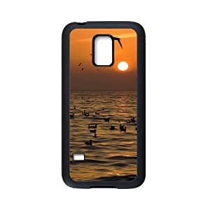 COOL phone case,For black Plastic and TPU Samsung Galaxy S5 mini case with Sunrise on the Sea Pattern at Run horse store