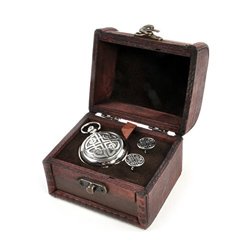 Celtic Circle Treasure Chest Pocket Watch and Cufflinks Gift -
