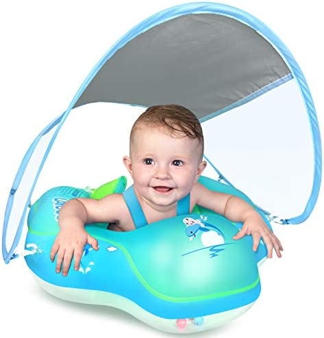 LAYCOL Baby Swimming Float Inflatable Baby Pool Float Ring Newest with Sun Protection Canopy,upload Tail no turn Over for Age of 3-36 Months …