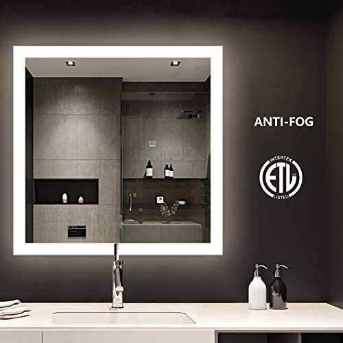 smartrun Square Backlit LED Mirror, Bathroom Make Up Wall Mounted Mirror with Anti-Fog(No Touch Button), 36