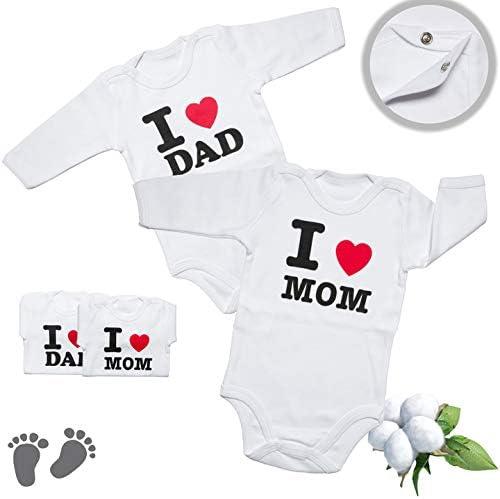 Amo la Mamma Amo Il pap/à Perfetto Come Regalo per Baby Shower Il Bambino cresce per Le Bambine e i Ragazzi Istanbul Laundry Shop Body per Bambini 2 Pezzi per Manica Lunga 0-3 Mesi
