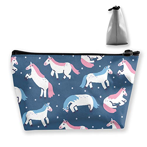 Portable Travel Cosmetic Pouch Storage Makeup Bag Kids Cutie Pie Unicorn Fashion Zipper Trapezoid Purse for Women Men Business Travel