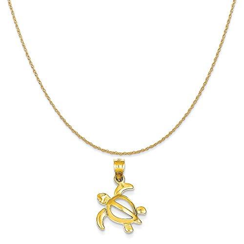 14k Yellow Gold Turtle Pendant (14k Yellow Gold Open Turtle Pendant on a 14K Yellow Gold Rope Chain Necklace, 16