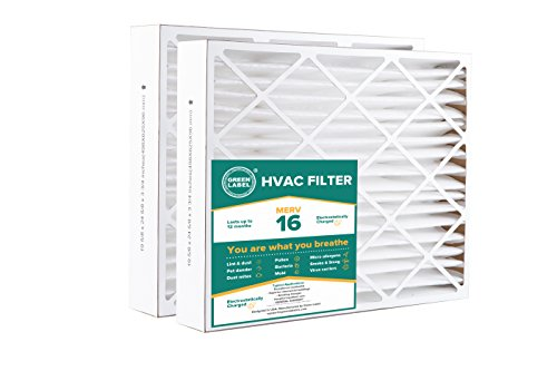 Green Label HVAC Air Filter 20x25x4, AC Furnace Air Ultra Cleaning Filter MERV 16 - Pack of - 4 Green Inch Dark