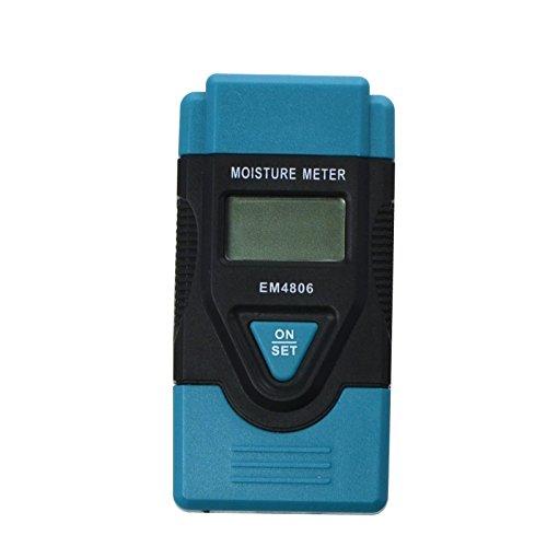 ALLOSUN Mini 3 in 1 Digital Wood Moisture Meter/Building Material Humidity Tester/LCD Temperature Meter 2 Pin Steel Probes (Blue)