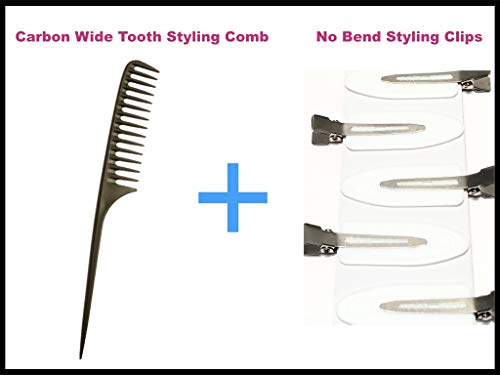 BUNDLE: No Bend Hair Clips, Celebrity hairstyling tool no crease, no mark clips PLUS, Carbon Wide Tooth Rake Comb with Tail - Beach waves, Beach waver, Texture hairstyle, comb outs, ()