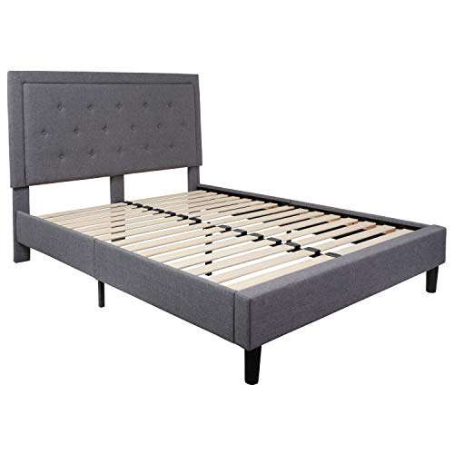 Flash Furniture Roxbury Tufted Upholstered Queen Size Platform Bed in Light Gray Fabric