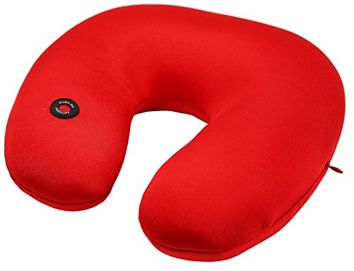 GPCT Microbead Massage Neck Pillow (U Shaped, Massage Vibrations, Ultra Comfort, Neck Support, Relaxation, Home & Travel Pillow) - Red -