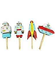 Bilipala Cupcake Toppers Picks Puffy Picks Party Cake Decoration, Space Robots, 24 Count