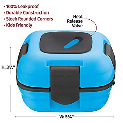 .com - Lunch Box ~ Pinnacle Insulated Leak Proof Lunch Box for Adults and Kids - Thermal Lunch Container with New Heat Release Valve 16 oz ~Set of 2~ Blue-Pink -