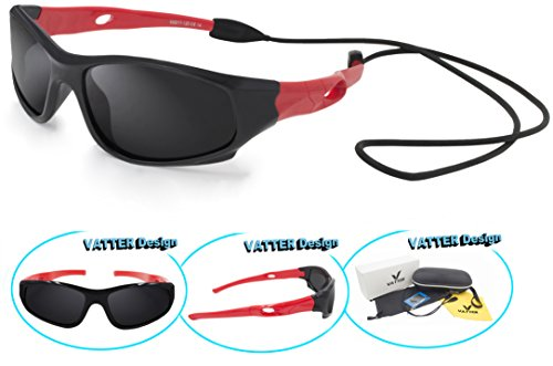 VATTER TR90 Unbreakable Polarized Sport Sunglasses For Kids Boys Girls Youth - With Sunglasses Strap Kids