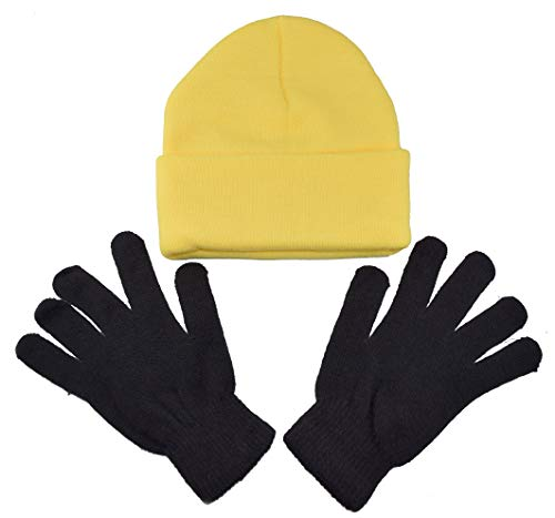 Minion Costume Accessories (Youth - Adult Minion Costume Kit / 1 Minion Yellow Beanie & 1 Pair Black Gloves (Youth -)