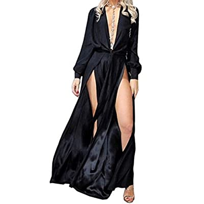 Missord Women's Deep V Long Sleeve Slim split Maxi Dress with belt