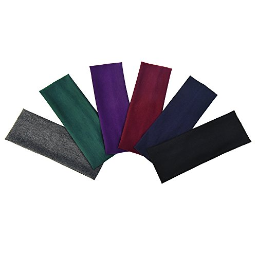 eBoot 6 Pieces Stretch Elastic Yoga Cotton Headbands for Teens and Adults