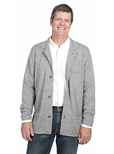 Incredible Natural Creations from Alpaca - INCA Brands Men's The Batted Blazer Cardigan Alpaca Sweater (Smoke, XLarge)