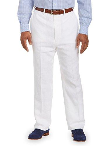 RALPH LAUREN Men's Flat Front Solid White Linen Dress Pants