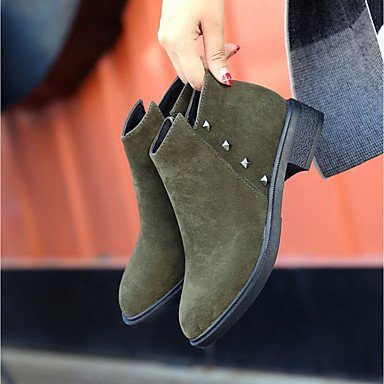 Boots Shoes Green Boots UK6 Low Ankle Suede Beading Heel US8 Combat Boots Fall RTRY Women's PU For Round Booties CN39 Black Toe Casual Army EU39 6wq5gxpH