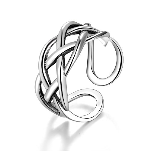 Candyfancy Love Celtic Knot Ring 925 Sterling Silver Adjustable Open Ring For Women Girls (Four lines crossed) Adjustable Sterling Toe Rings
