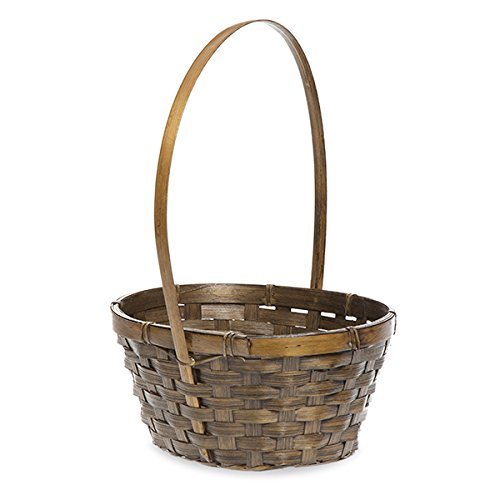 Oblong Brown Bamboo Handle Basket with Liner