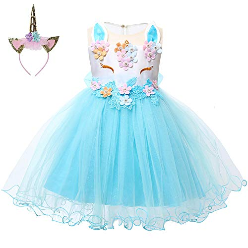 LZH Baby Girl Unicorn Flower Dress Bowknot Lace Birthday Party Baptism Gown w/ Hairband(459-Blue, 90/12-18 months)]()