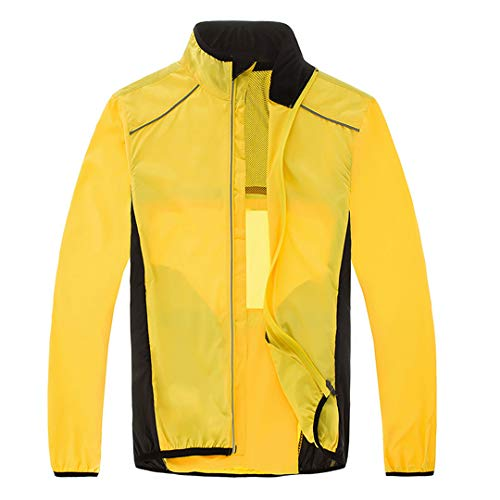 (V-speed Cycling Jackets Men's Outdoor Waterproof Raincoat Long Sleeve Clothing Yellow L)