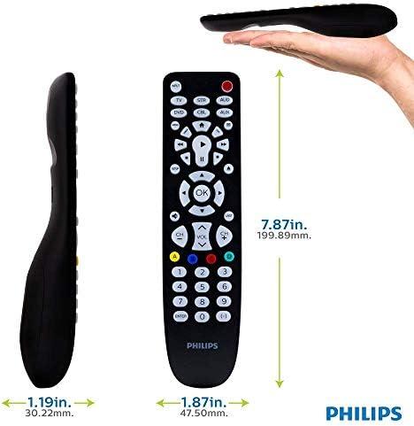 Philips Elite - Mando a distancia universal con 6 dispositivos, acabado en negro cepillado, totalmente retroiluminado, LED blanco brillante, botones grandes, preprogramado para dispositivos Samsung y Roku, para todas las marcas principales,