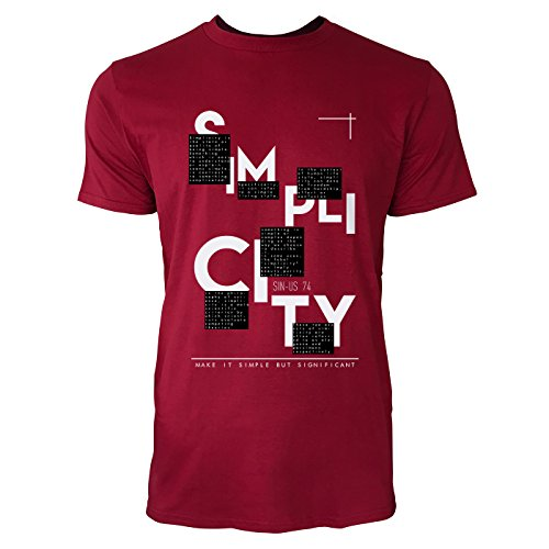 SINUS ART ® Make It Simple But Significant Herren T-Shirts in Independence Rot Fun Shirt mit tollen Aufdruck
