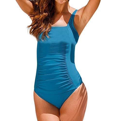 - POQOQ Swimwear Women One Piece Swimsuit Deep V Cross Back Sport Swimsuit Women's Solid Diamondback L Drak Blue