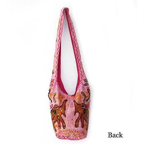Moda di cotone ricamato Paillettes Zari Filo Shopping Jhola Borsa