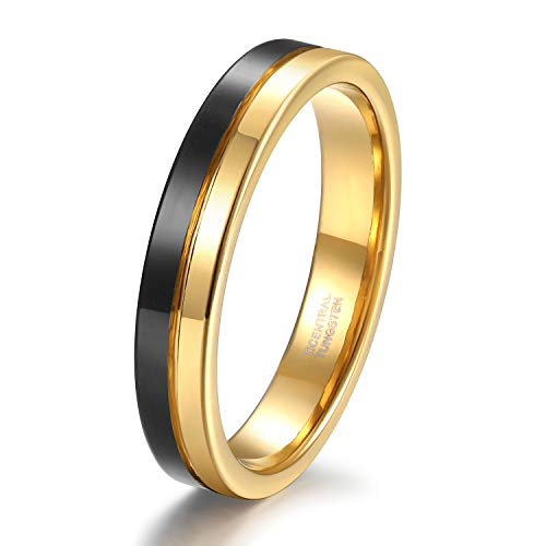 (4mm Thin Tungsten Wedding Band for Men Women Two Tone Gold Black Centre Groove Engagement Ring Size 10)