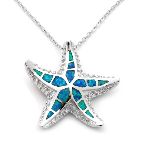 Sterling Silver & Blue Inlay Simulated Opal Large Starfish Pendant Necklace 18