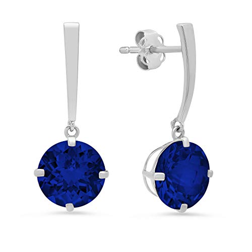 14k White Gold Solitaire Round-Cut Created Blue Sapphire Drop Earrings (8mm) (Round Cut Natural Sapphire)