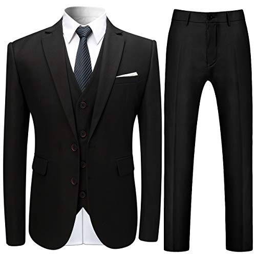 (Mens Stylish 3 Piece Dress Suit Classic Fit Wedding Formal Jacket & Vest & Pants Black)