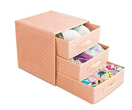 tiroir Type /épaississant Box sous-v/êtements Trois Couches Rouge Chaussettes Bureau Soutien-Gorge /étui de Rangement Tissu Oxford Wuyue Hua sous-v/êtements Bo/îte de Rangement