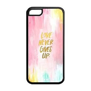 LJF phone case the Case Shop- Motto Never Give Up TPU Rubber Hard Back Case Silicone Cover Skin for iPhone 5C , i5cxq-515