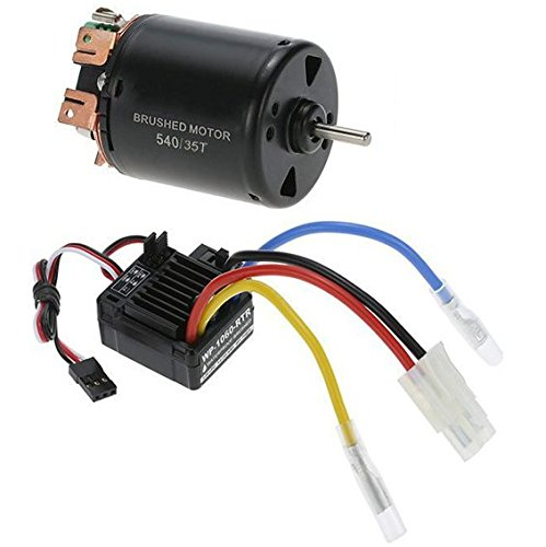 Electronic Speed Controller (540 35T 1/10 1 10 Scale RC Car Waterproof Brushed ESC Electronic Speed Controller 4 Poles Brushed Motor and WP-1060-RTR 60A)