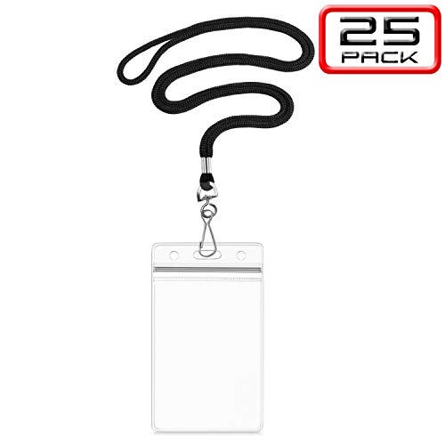 Summerhouse 25 Pack Lanyard with ID Holder - Vertical Fit 2.4x3.6'' Card Badge Nametag Insert - for Conference Workshop Meeting Exhibition School
