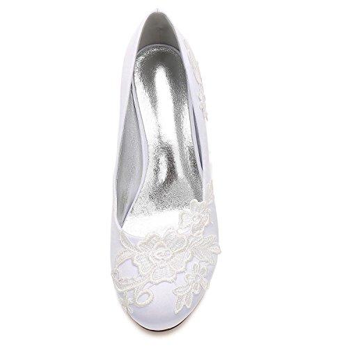 Fermer la Bureau Les YC Chaussures Mesure de Mariage Cour du sur Orteils Fleur Femmes de Red Corsage Satin L Taille Parti q6zFw4vq