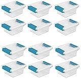 Sterilite 19698606 Mini Clip Box, Clear with Blue Aquarium Latches, 12-Pack