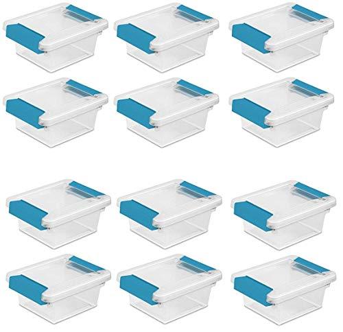 Sterilite 19698606 Mini Clip Box, Clear with Blue Aquarium Latches, 12-Pack by STERILITE